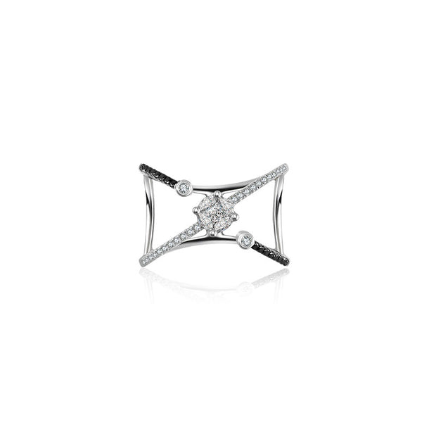 18k Gold Cross Diamond Open Ring with Black Diamond - Genevieve Collection