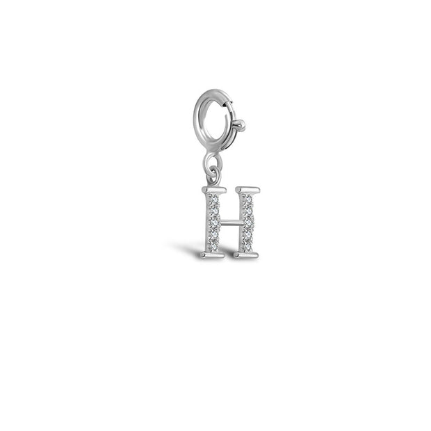"18k Gold Letter ""H"" Diamond Charms - Genevieve Collection"