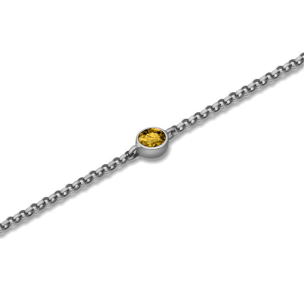 18k Gold November Birth Stone Citrine Bracelet - Genevieve Collection