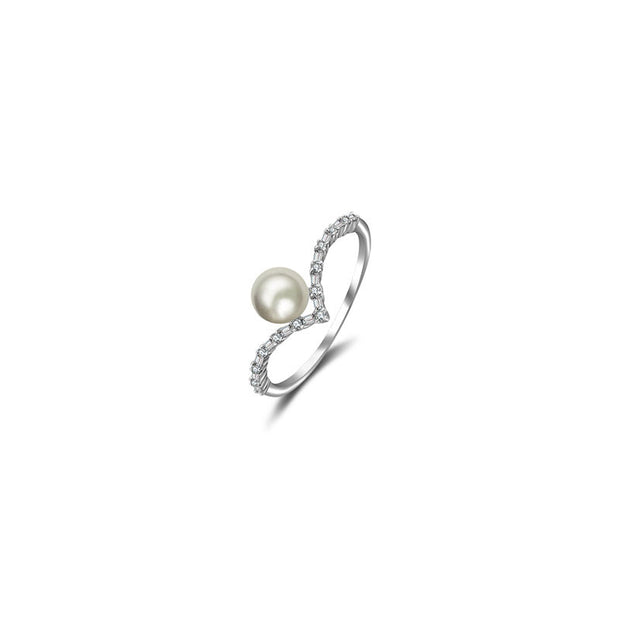18k Gold Double Curve Diamond Ring With Pearl - Genevieve Collection