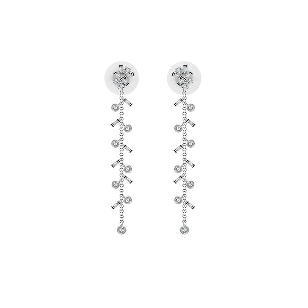 18k Gold Weeping Willow Dangle Diamond Earring - Genevieve Collection