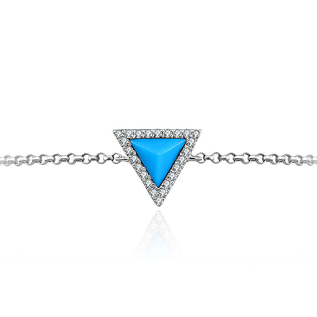 18k Gold Tetrahedron Shape Turquoise Diamond Bracelet with Blue Tassel - Genevieve Collection