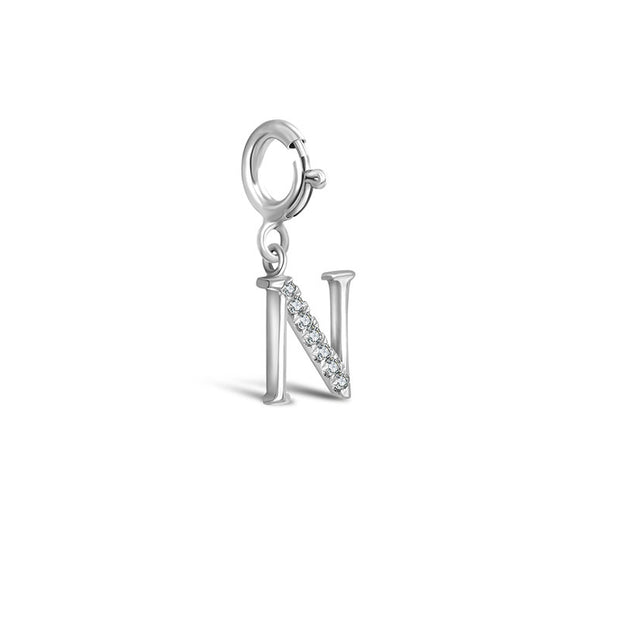 "18k Gold Letter ""N"" Diamond Charms - Genevieve Collection"