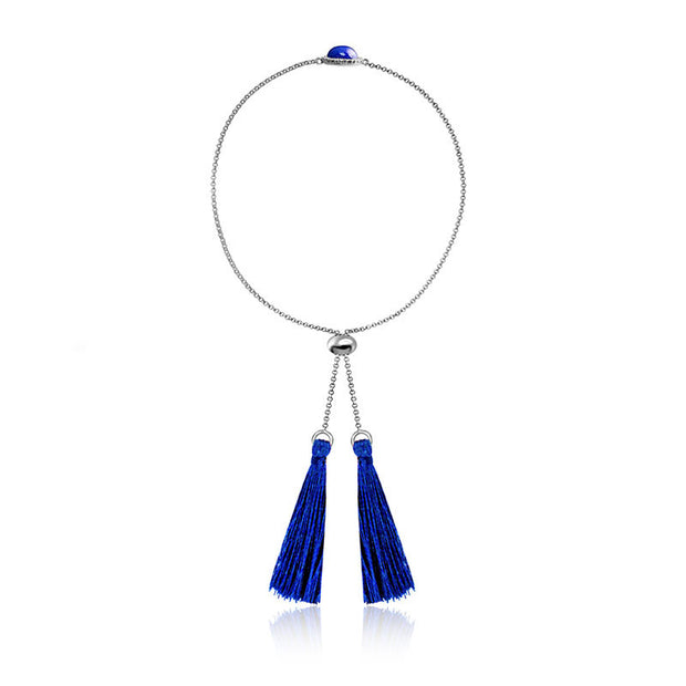 18k Gold Round Lapis Diamond Bracelet with Blue Tassel - Genevieve Collection