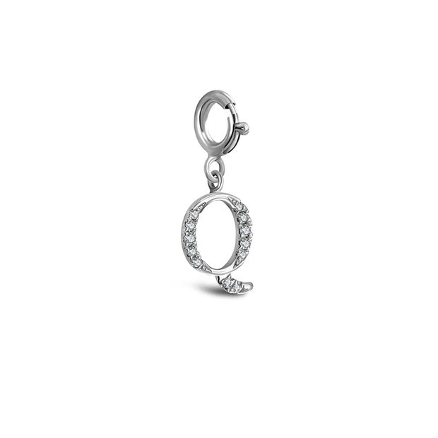 "18k Gold Letter ""Q"" Diamond Charms - Genevieve Collection"
