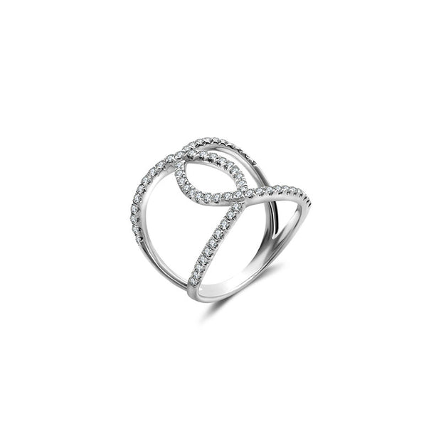 18k Gold Connected Curve Diamond Ring - Genevieve Collection