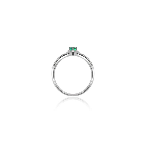 18k Gold Curve Diamond Double Ring with Drop Shape Emerald - Genevieve Collection