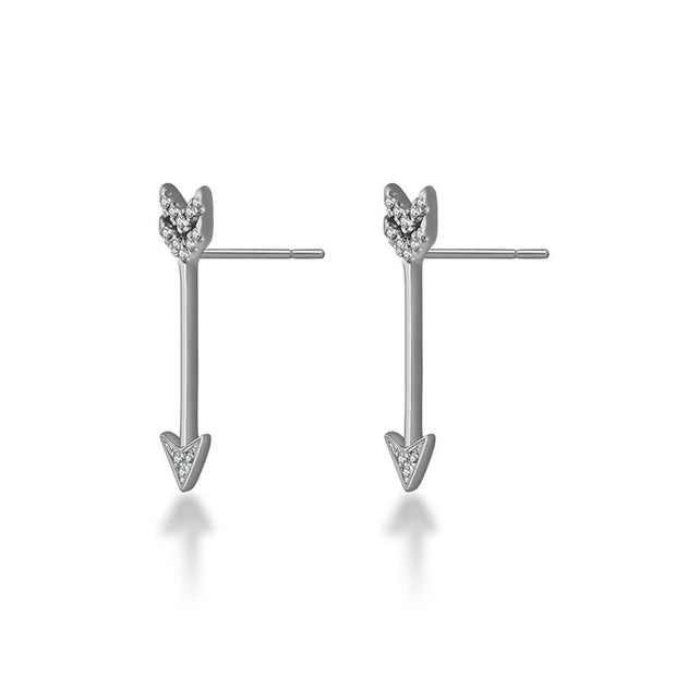 18k Gold Diamond Arrow Upward Earring - Genevieve Collection