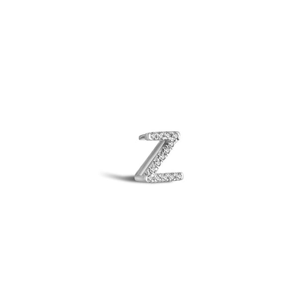 "18k Gold Initial Letter ""Z"" Diamond Pendant - Genevieve Collection"