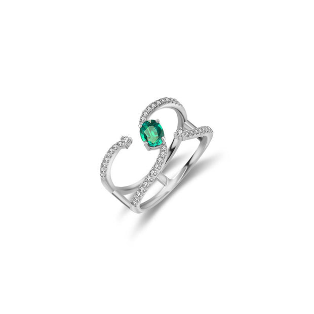 18k Gold Single Emerald Connected Diamond Ring - Genevieve Collection
