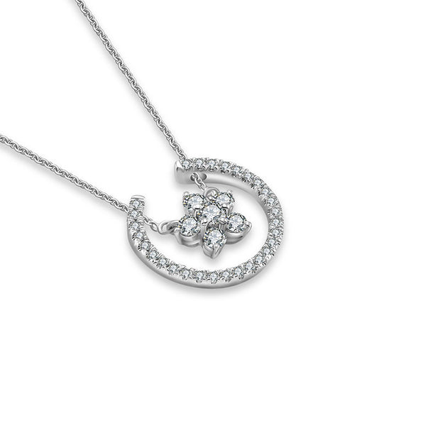 18k Gold Flower Shape Diamond Necklace - Genevieve Collection