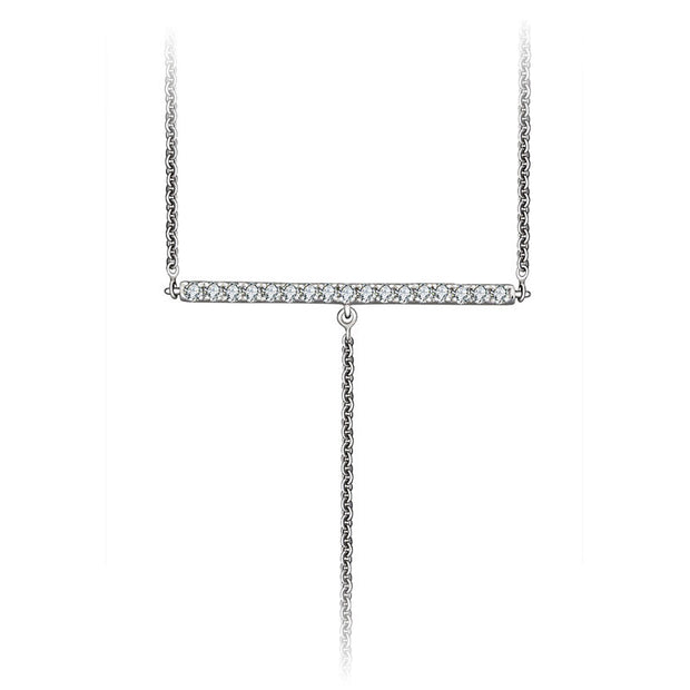 18k Gold Line Dangling Diamond Necklace - Genevieve Collection