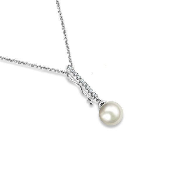 18k Gold 2 ways Line Shaped Diamond Necklace with Pearl - Genevieve Collection