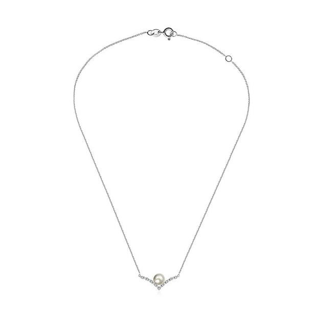 18k Gold Double Curve Diamond Necklace With Pearl - Genevieve Collection