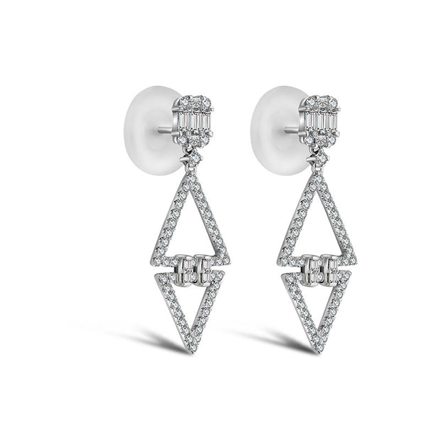 18k Gold Double Triangle Diamond Earring - Genevieve Collection