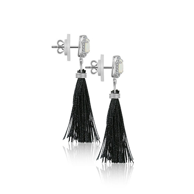 18k Gold Tassel Diamond Earring With Opal - Genevieve Collection
