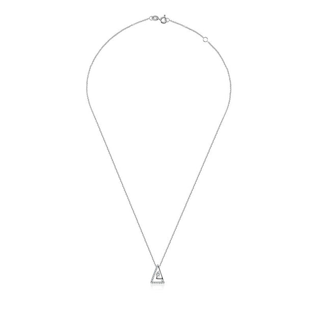 18k Gold Helix Triangle Diamond Necklace - Genevieve Collection