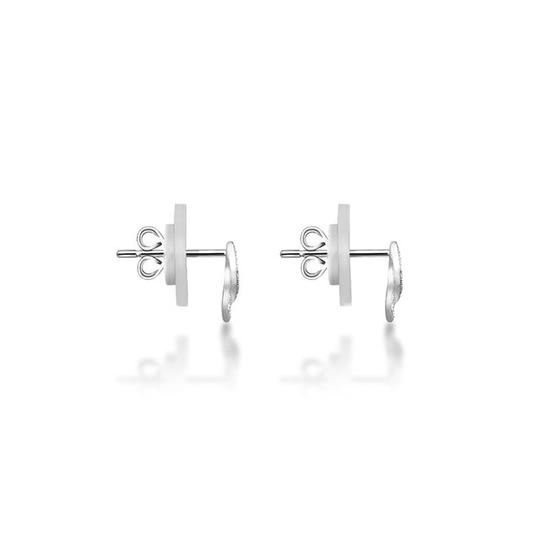 18k Gold Ribbon Stud Diamond Earring - Genevieve Collection