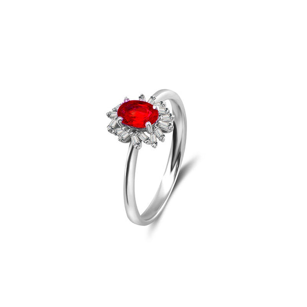 18k Gold Ruby Ring Surrounded by Irregular Shape Diamond - Genevieve Collection