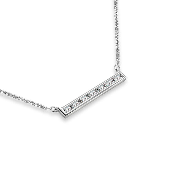 18k Gold Line Shape with Rectangle Diamond Necklace - Genevieve Collection