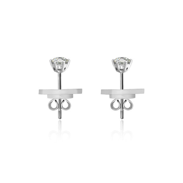 18k Gold Single Diamond Stud Earring With Six Claw Setting - Genevieve Collection