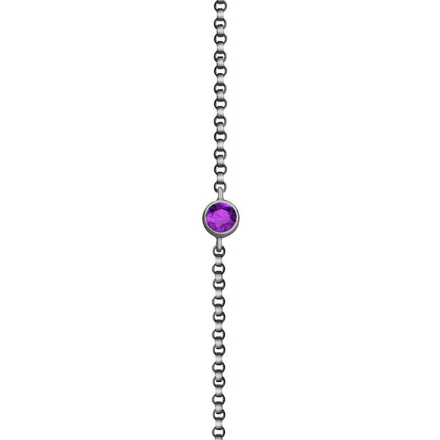 18k Gold February Birth Stone Amethyst Bracelet - Genevieve Collection