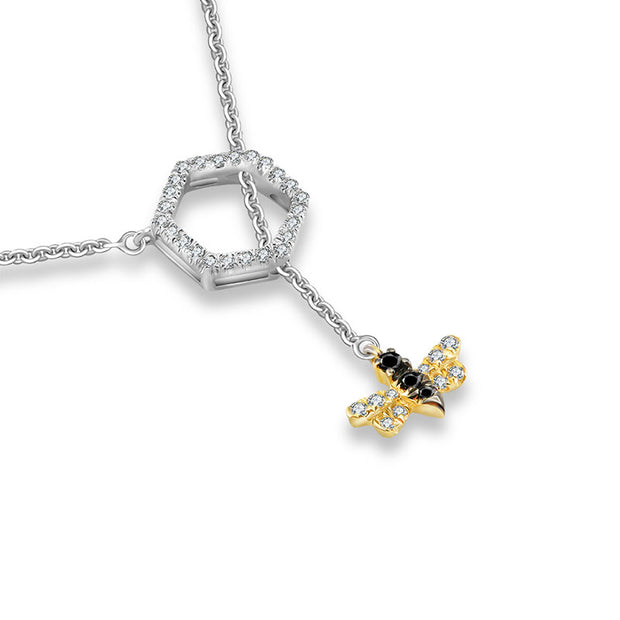 18k Gold Bee Shape Adjustable Diamond Necklace - Genevieve Collection