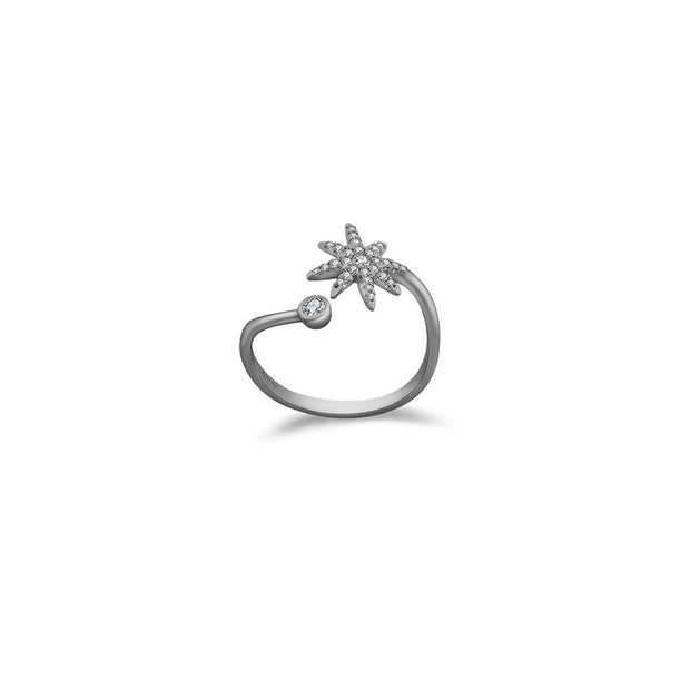 18k Gold Star Open Diamond Ring - Genevieve Collection