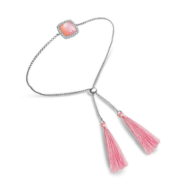 18k Gold Pink Shell Diamond Bracelet with Pink Tassel - Genevieve Collection
