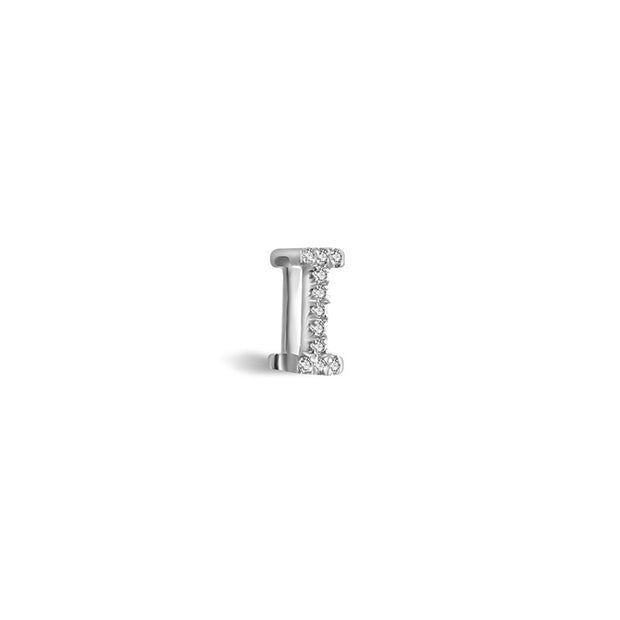 "18k Gold Initial Letter ""I"" Diamond Pandent + Necklace - Genevieve Collection"