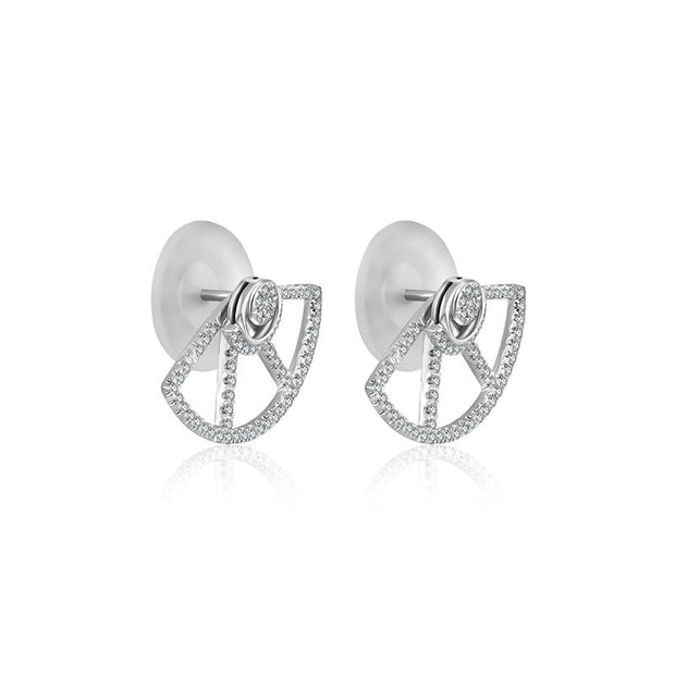 18k Gold Fan Shape Diamond Earring - Genevieve Collection