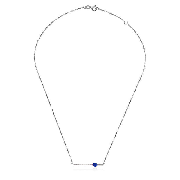 18k Gold Line Diamond Necklace with Drop Shape Sapphire