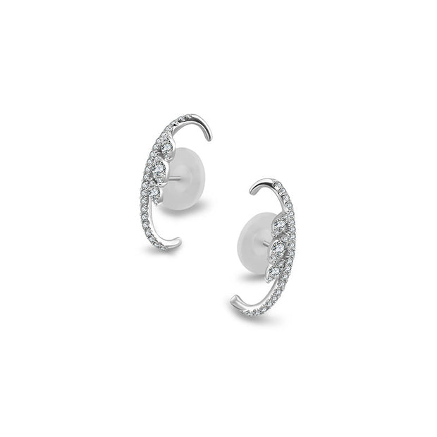 18k Gold Marquise Pattern Half Hoop Diamond Earring - Genevieve Collection