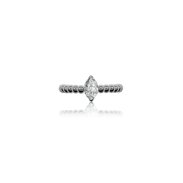 18k Gold Marquise Shape Adjustable Titanium Diamond Ring - Genevieve Collection