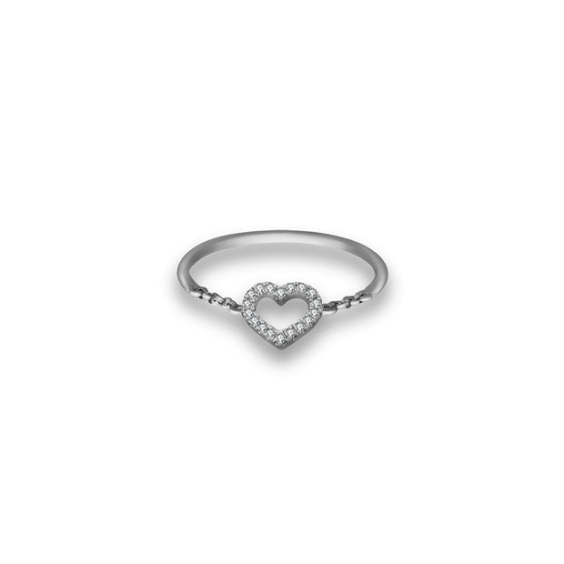18k Gold Petite Heart Diamond Ring - Genevieve Collection