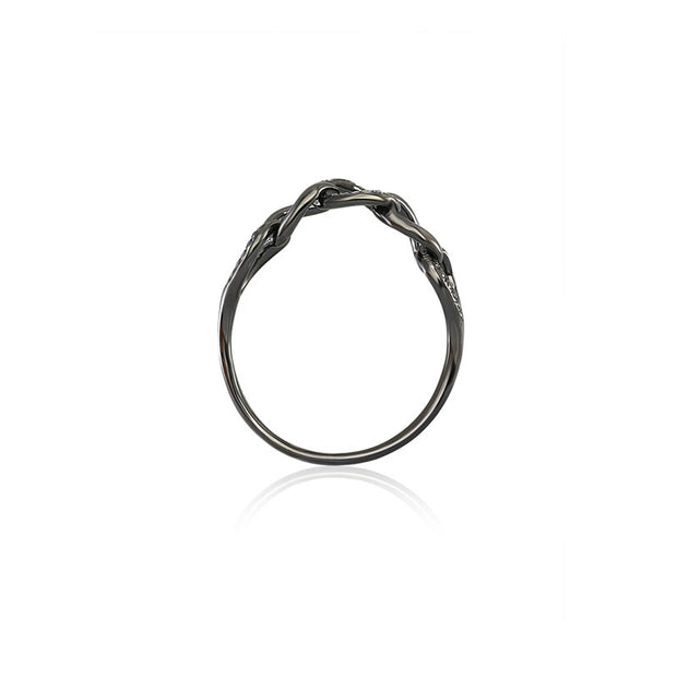 18k Gold Chain Shape Diamond Ring With Black Gold - Genevieve Collection
