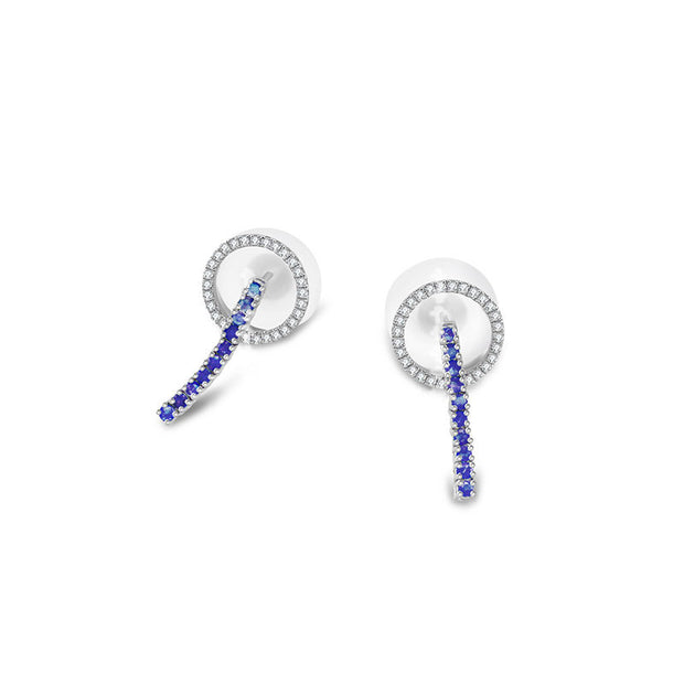 18k Gold Hollow Round Shape with Line Sapphire Earring