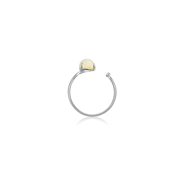18k Gold Opal Open Diamond Ring With Vertical Line Shape - Genevieve Collection