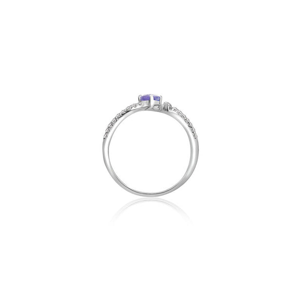 18k Gold Single Sapphire Connected Diamond Ring - Genevieve Collection