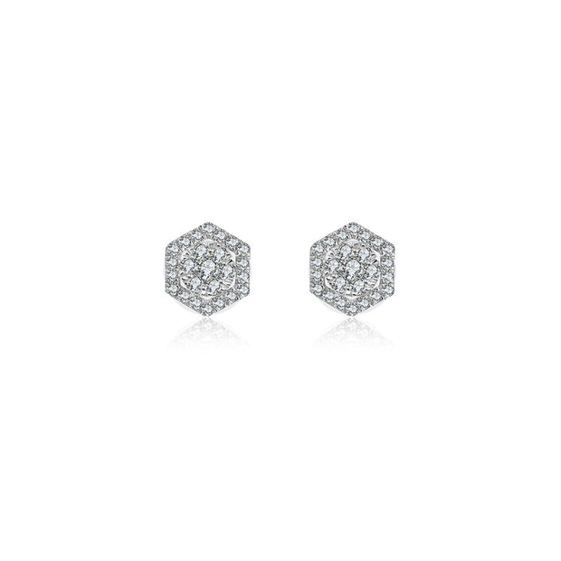 18k Gold 2 ways Hexagonal Diamond Earring - Genevieve Collection