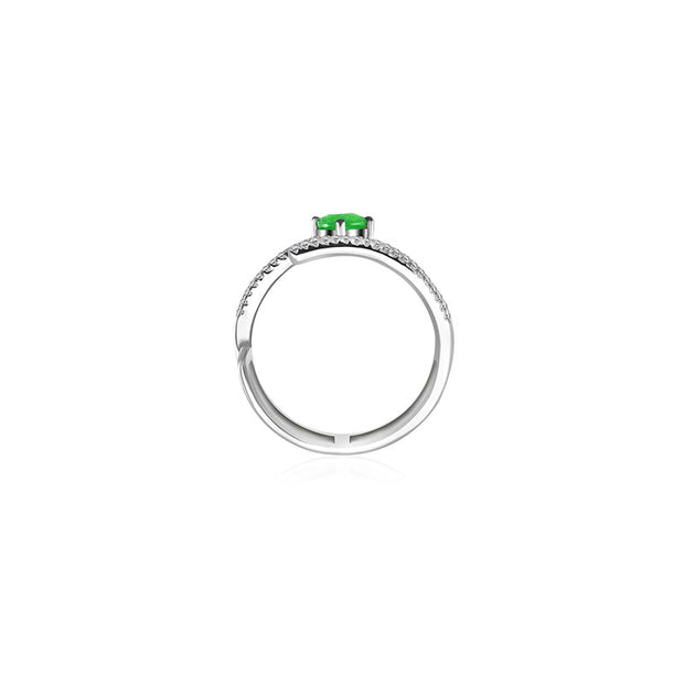 18k Gold Diamond Double Ring with Emerald - Genevieve Collection