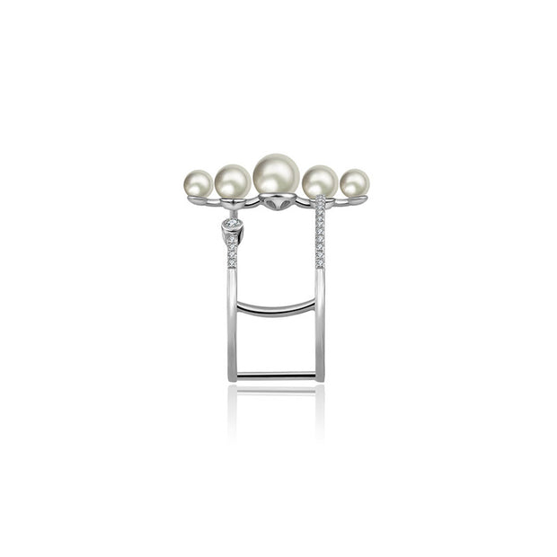 18k Gold Pearl Double Open Diamond Ring - Genevieve Collection