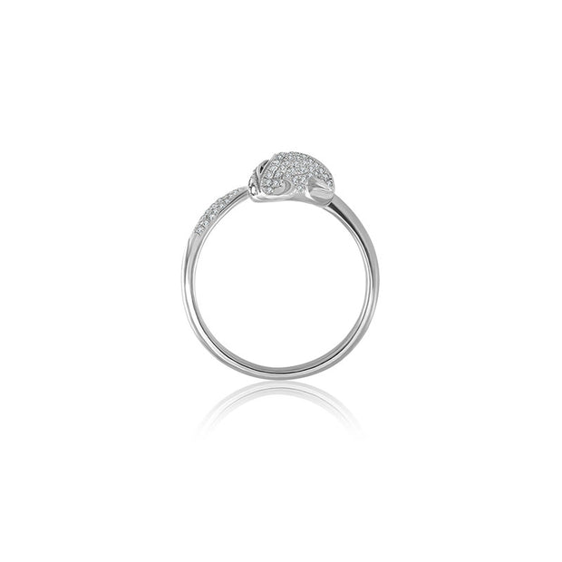 18k Gold White Fox Shape Diamond Open Ring - Genevieve Collection