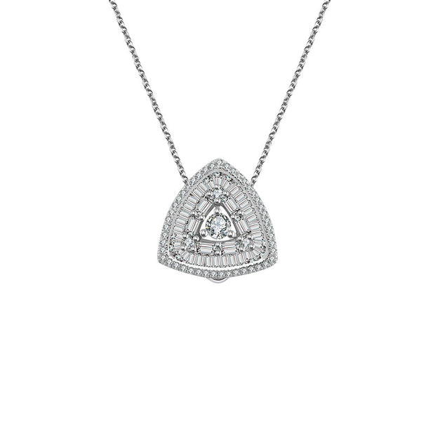 18k Gold 2 ways Triangle Diamond Necklace - Genevieve Collection