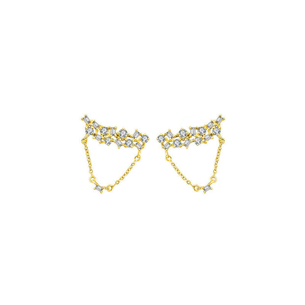18k Gold Irregular Shape Chain Diamond Earring - Genevieve Collection