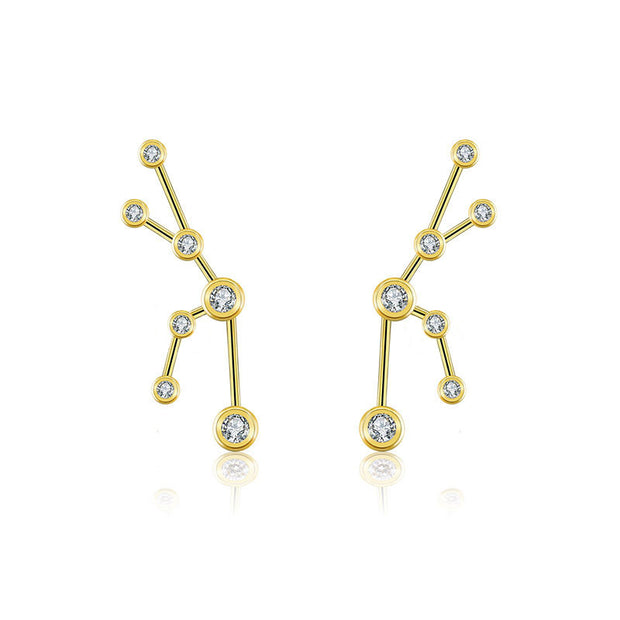 18k Gold Taurus Diamond Earring - Genevieve Collection