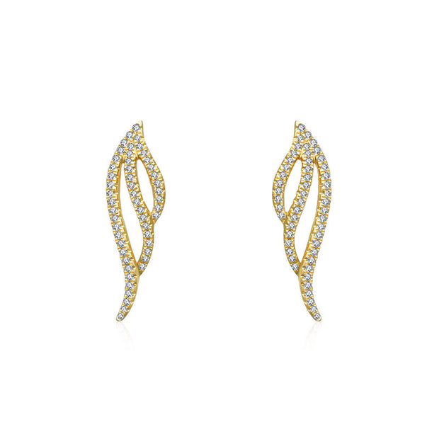 18k Gold Angel Wing Diamond Earring - Genevieve Collection