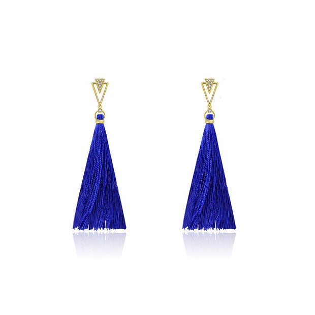 18k Gold Double Arrow Shape Tassel Diamond Earring - Genevieve Collection