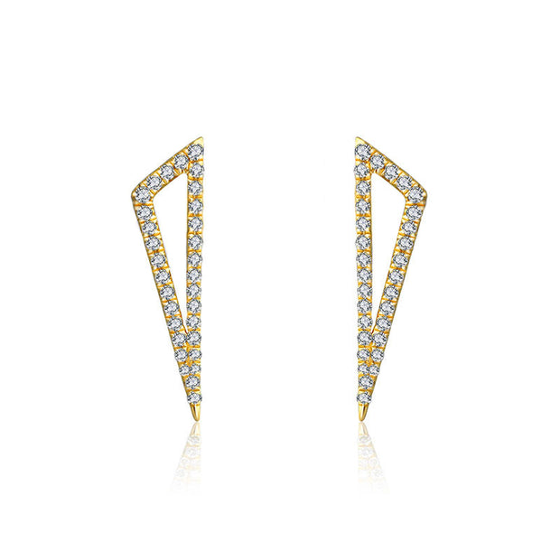 18k Gold Hollow Triangle Diamond Earring - Genevieve Collection