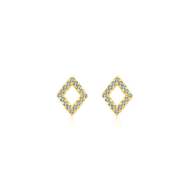 18k Gold Hollow Diamond Shape Diamond Earring - Genevieve Collection